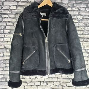 JLO Jennifer Lopez Suede Faux Fur Leather Jacket L